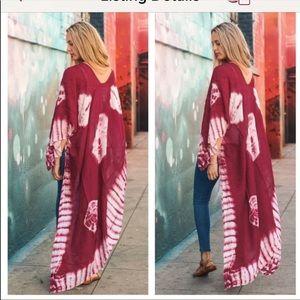 NWT Tie die bohemian duster kimono OSFM
